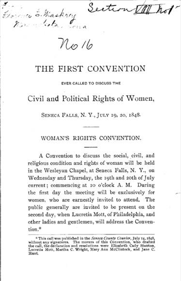 Sample Essays: Declaration of Sentiments and Resolutions
